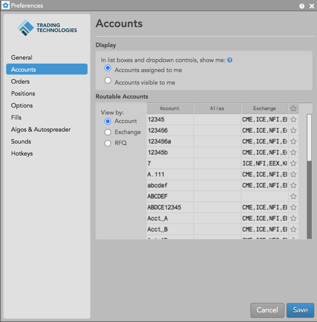 Account preferences dialog