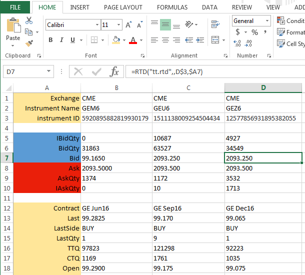 Excel and the TT RTD Server overview | Excel integration